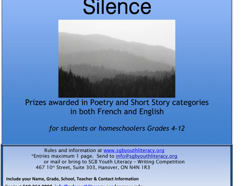 9th Annual Poetry & Short Story Writing Contest for Youth – Silence