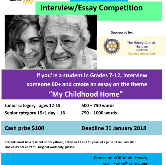south grey bruce youth literacy council essay competition for students